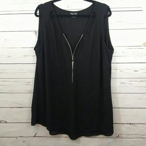 City Chic half zip tunic sleeveless blouse